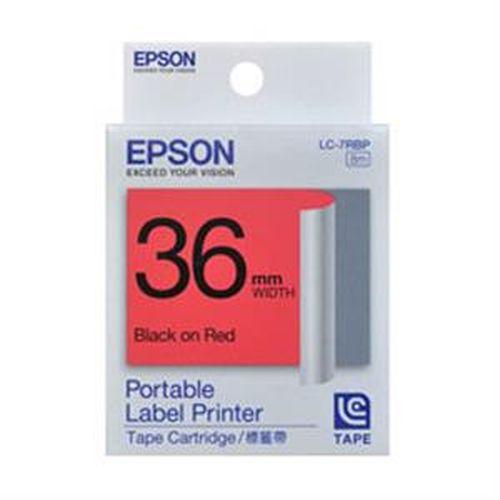 EPSON 粉彩標籤帶 紅底黑字 36mm LC-7RBP