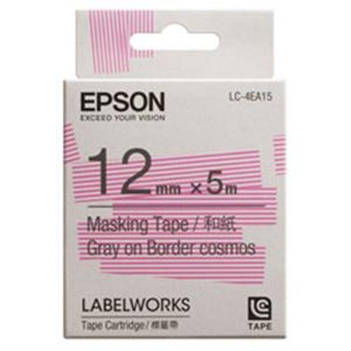 EPSON 和紙標籤帶 粉白條紋底灰字 12mm LC-4EA15